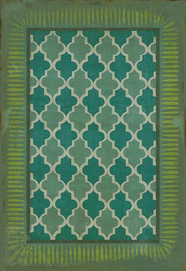 Teal, Lime Green Bordered Area Rug