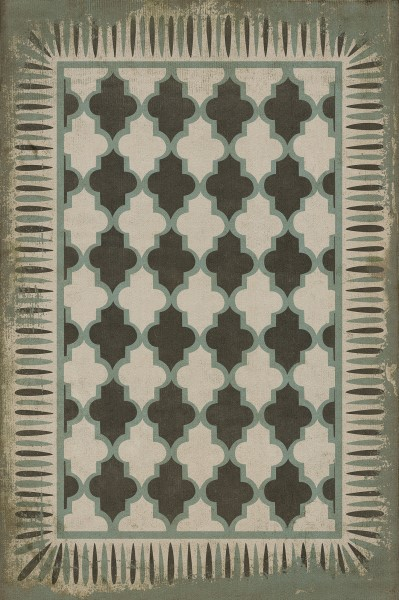 Ivory, Green  Contemporary / Modern Area Rug