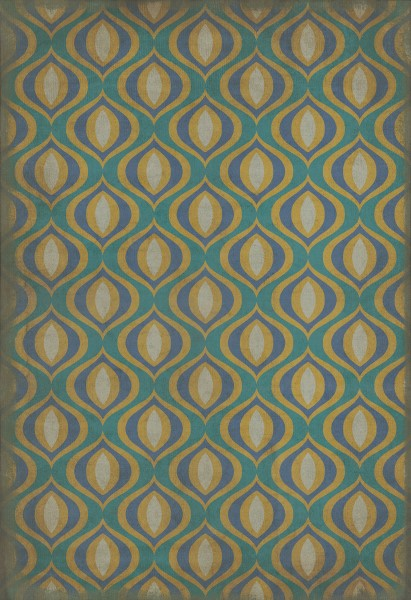 Teal, Gold Contemporary / Modern Area Rug