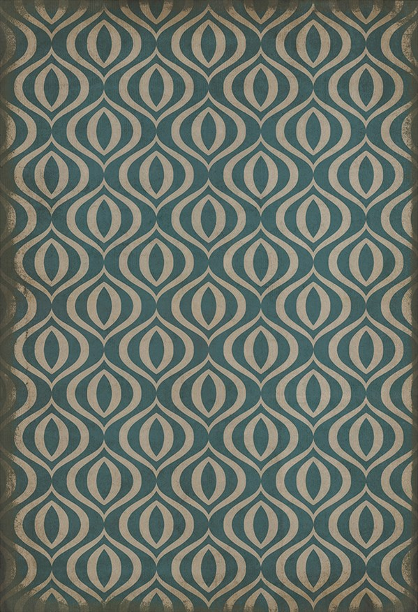 Teal, Ivory Moroccan Area Rug