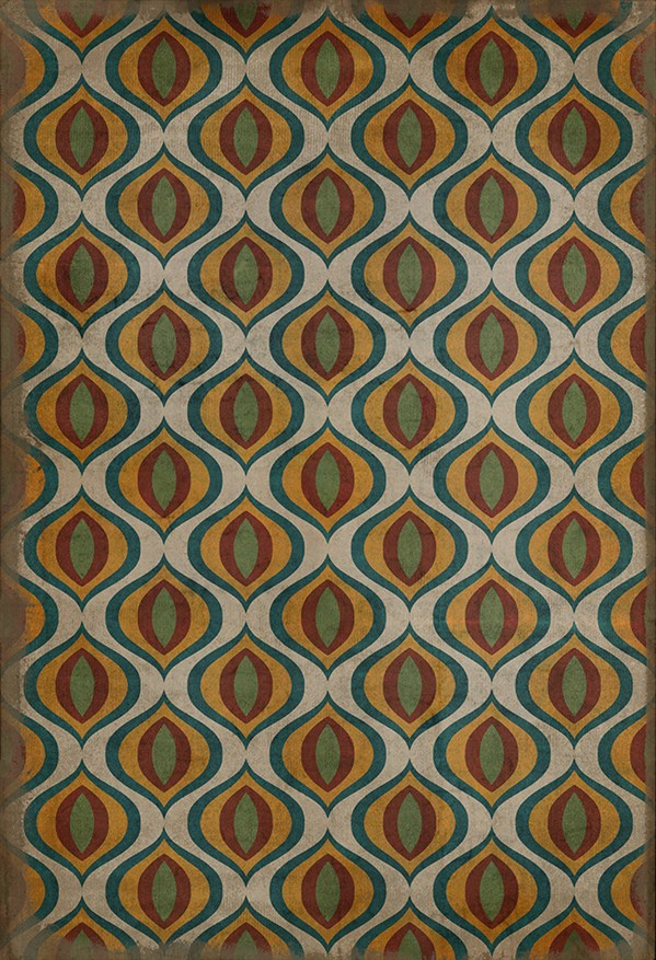 Green, Red Moroccan Area Rug