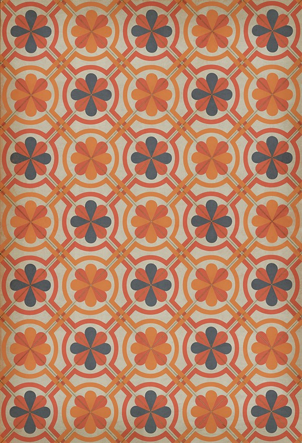 Orange, Grey Transitional Area Rug