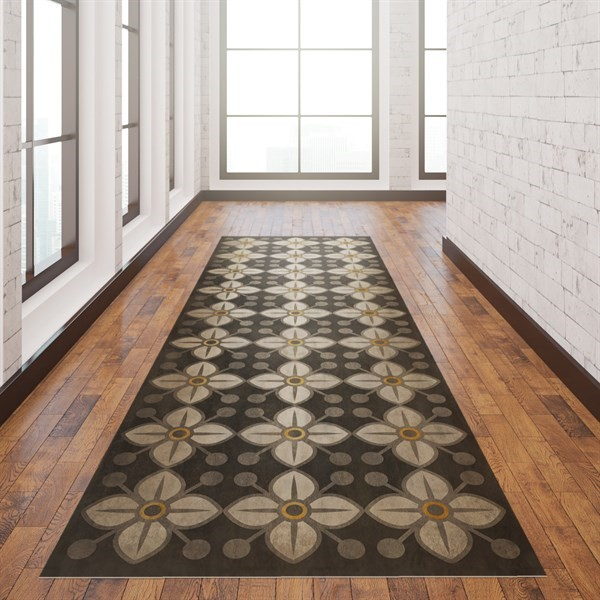 Distressed Grey, Antiqued Ivory Contemporary / Modern Area Rug