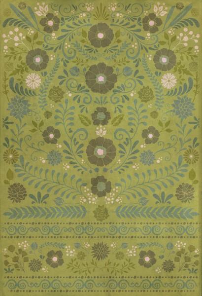 Green, Blue Floral / Botanical Area Rug
