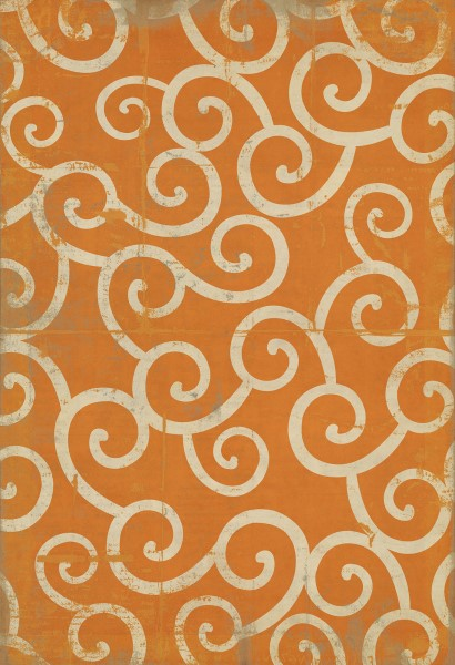 Orange, Ivory Transitional Area Rug