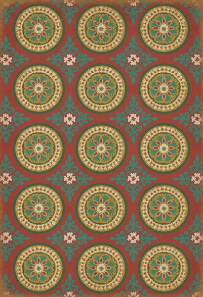 Red, Green Transitional Area Rug