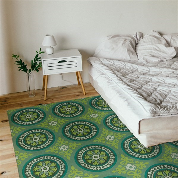 Lime Green, Olive Green Contemporary / Modern Area Rug