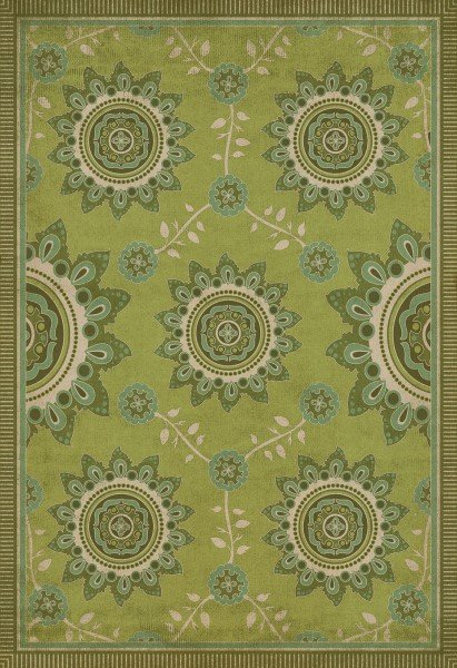 Green, Ivory Contemporary / Modern Area Rug