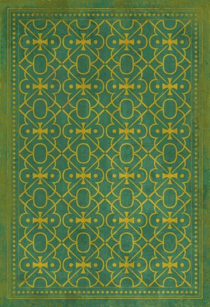 Green, Gold Contemporary / Modern Area Rug