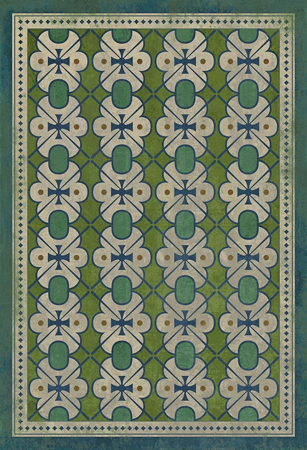 Green, Blue Transitional Area Rug