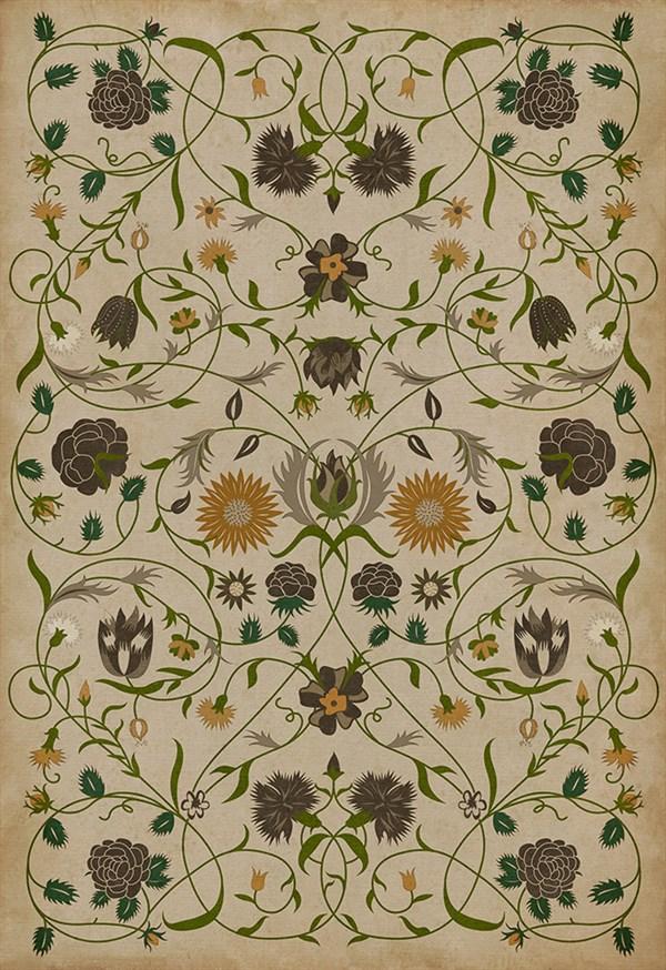 Ivory, Green, Mustard (Martha) Outdoor / Indoor Area Rug