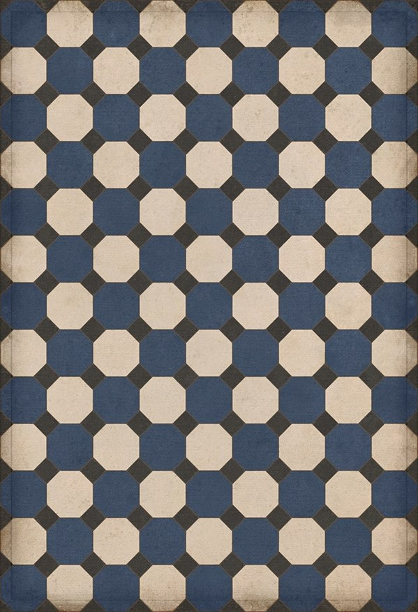 Blue, Cream, Black (Washington) Outdoor / Indoor Area Rug