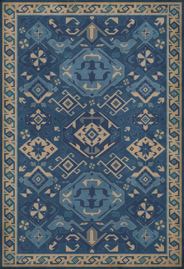 Blue, Cream (Indigo) Outdoor / Indoor Area Rug