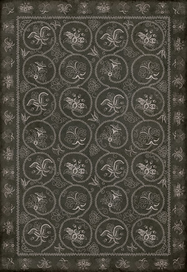 Her And Company Vintage Vinyl Floor Cloths Crewelwork Area Rugs