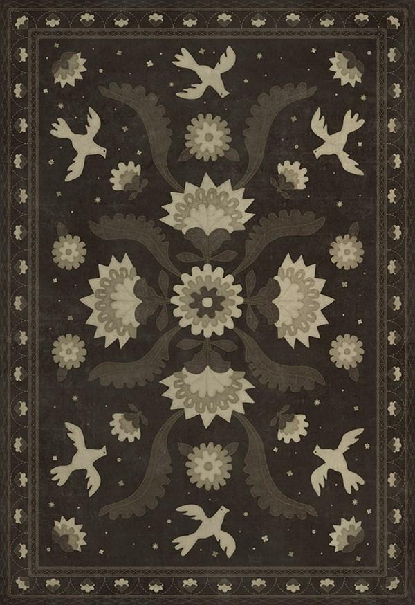 Black, Cream (Stitches of the Hours) Outdoor / Indoor Area Rug