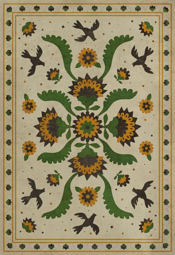 Beige, Green, Mustard (Wild Bees Song) Outdoor / Indoor Area Rug