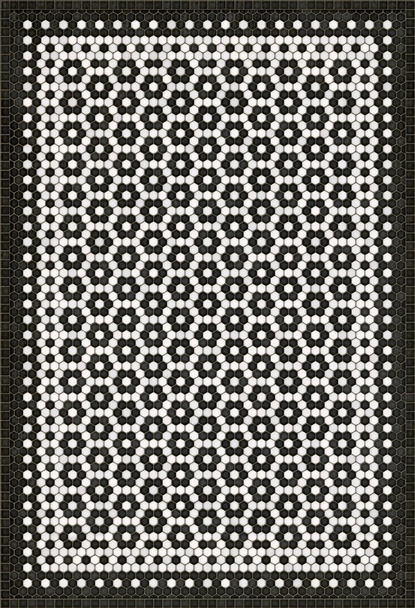 Black, White (Catherine Street) Outdoor / Indoor Area Rug