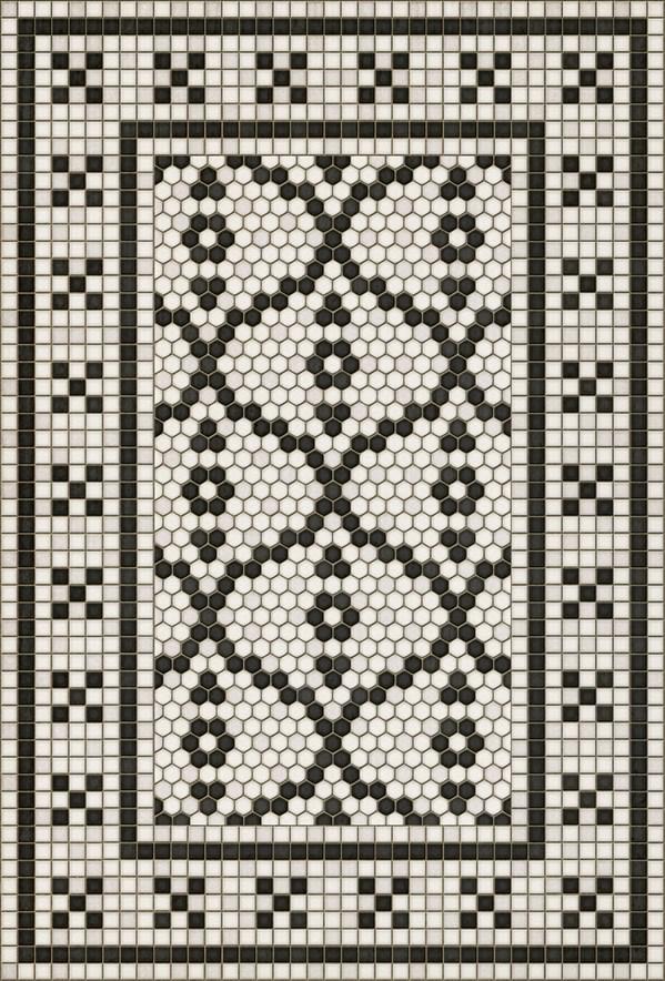 Black, Ivory (Queensboro Plaza) Outdoor / Indoor Area Rug