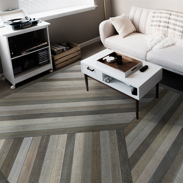 Distressed Grey (Mountains Come Out of the Sky) Outdoor / Indoor Area Rug