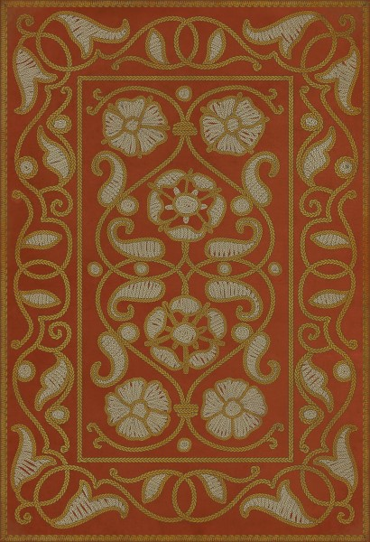 Red, Cream, Gold (Storybook) Contemporary / Modern Area Rug