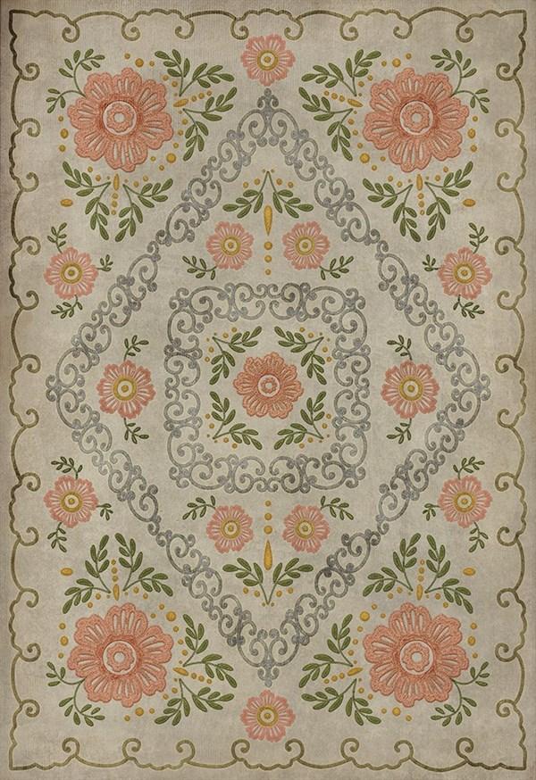 Cream, Pink, Green (A Little Decorum) Outdoor / Indoor Area Rug