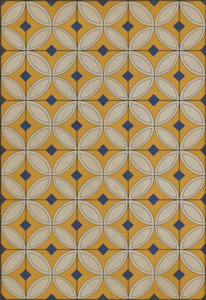 Gold, Cream, Blue (While the Light Shines On) Outdoor / Indoor Area Rug
