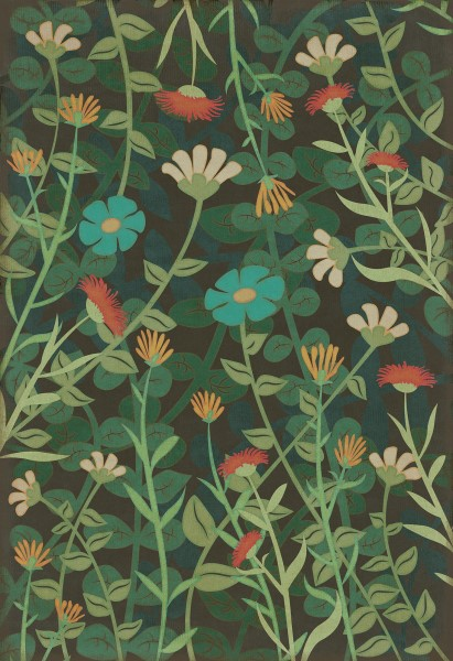Distressed Green (Dance of the Flowers) Floral / Botanical Area Rug
