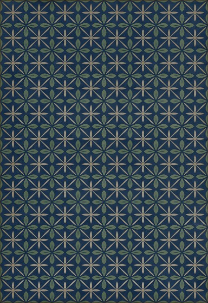 Blue, Green, Cream (Blue Moon Drive In) Outdoor / Indoor Area Rug
