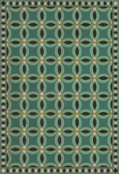 Green, Distressed Black, Beige (Felicity) Contemporary / Modern Area Rug