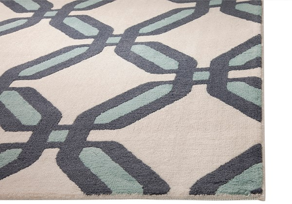 Navy, Teal, Ivory (1209) Contemporary / Modern Area Rug