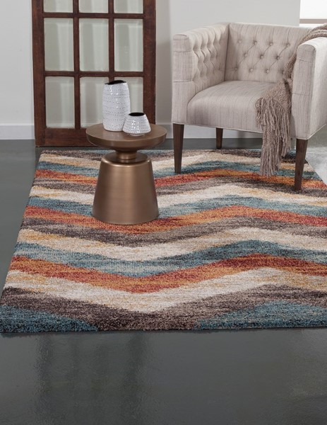 Teal, Brown (2513) Chevron Area Rug