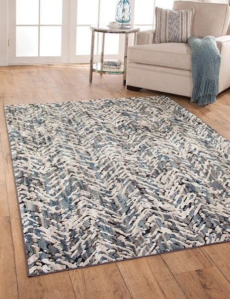 Blue, Ivory, Natural (6136) Chevron Area Rug