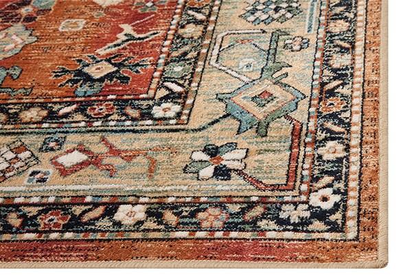Aqua, Celadon, Rust, Tan (7068) Traditional / Oriental Area Rug