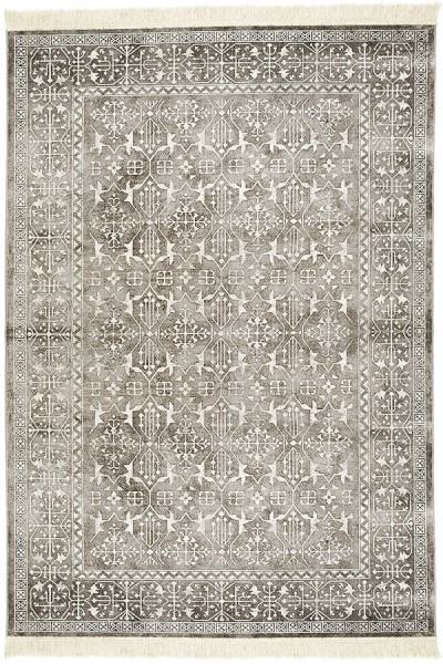 Silver Grey, White (7127) Traditional / Oriental Area Rug
