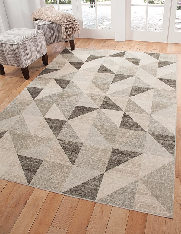 Silver, White, Grey (7148) Contemporary / Modern Area Rug