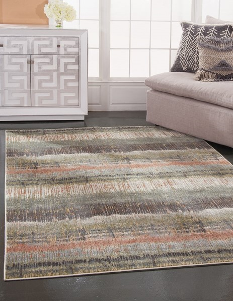 Green, Pink, Ivory (7304) Striped Area Rug