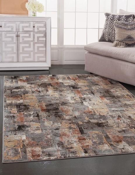 Pink, Grey, Ivory (7320) Abstract Area Rug