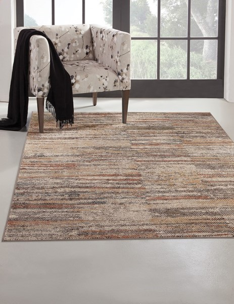 Ivory, Grey, Rust, Moss (7326) Abstract Area Rug