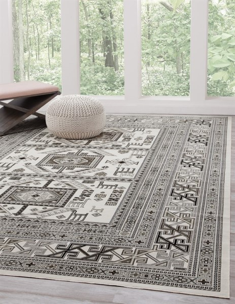 Ivory, Grey (7398) Traditional / Oriental Area Rug