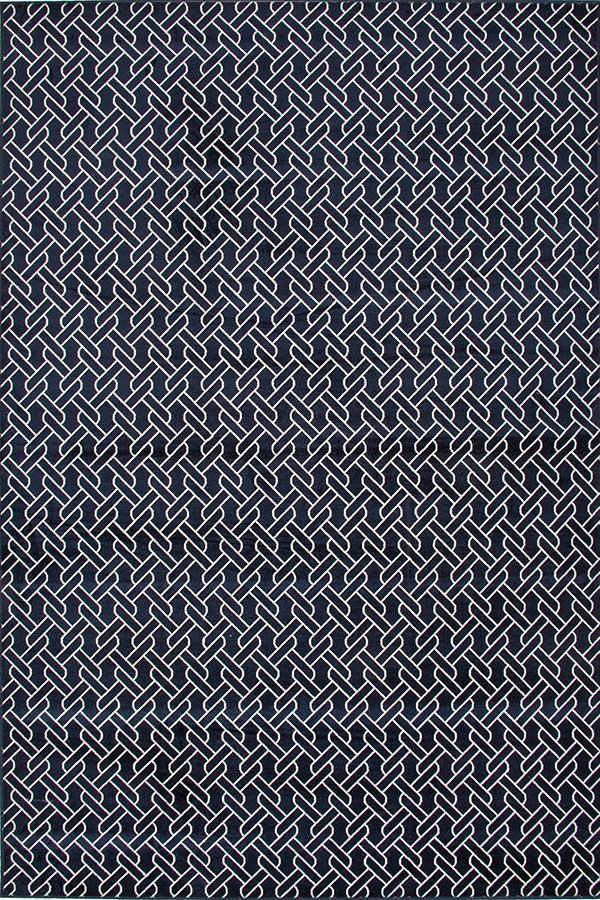 Navy, White (7119) Contemporary / Modern Area Rug
