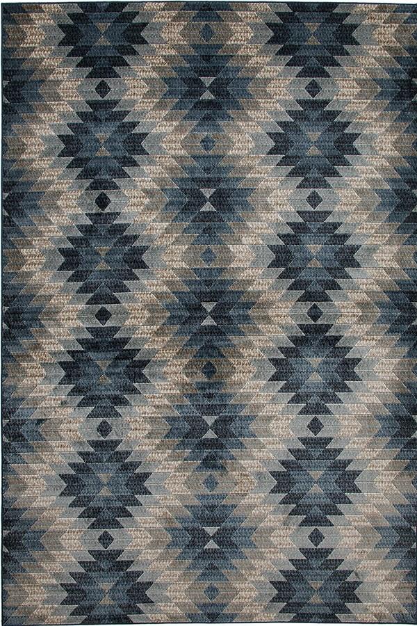 Blue, Grey, Natural (7289) Southwestern / Lodge Area Rug