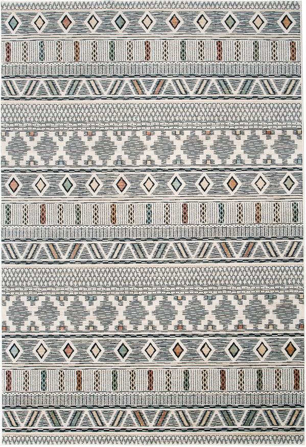 Ivory, Black (7431) Moroccan Area Rug