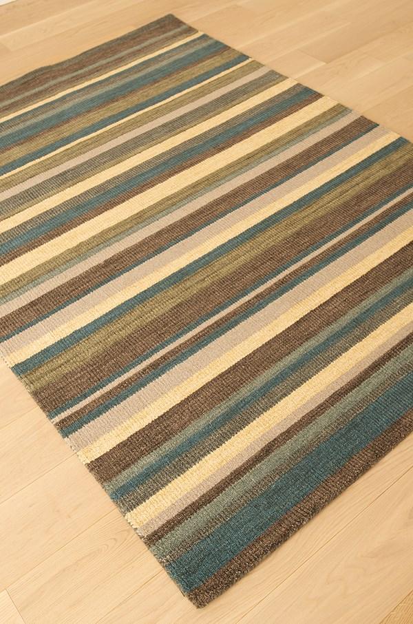 Chocolate, Ivory, Blue (9782) Striped Area Rug