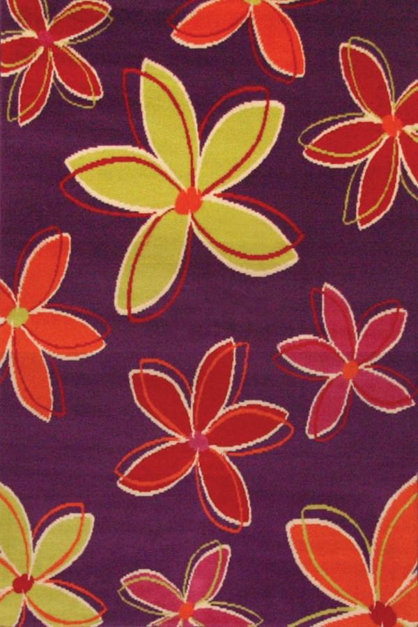 Purple, Lime (1483-8208) Floral / Botanical Area Rug