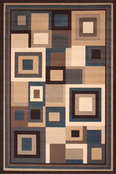 Beige, Blue, Brown, Ivory (9293-55) Contemporary / Modern Area Rug