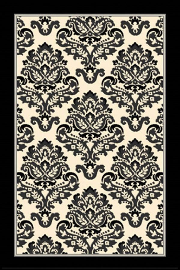 Black, Grey, Ivory (9372-874) Damask Area Rug
