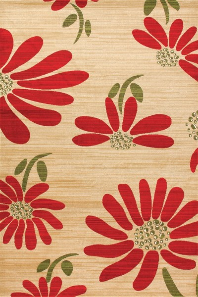 Yellow, Red, Green (ARO-09) Floral / Botanical Area Rug