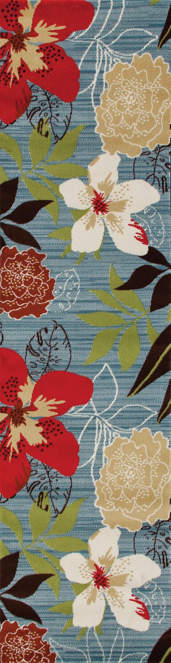 Aqua, Red, Cream (ARO-011) Floral / Botanical Area Rug