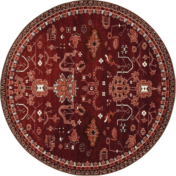 Red, Linen (AR-040) Traditional / Oriental Area Rug