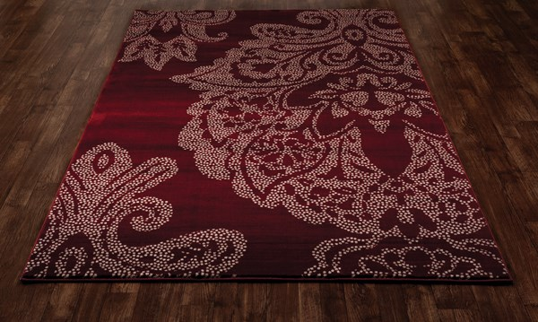 Red, Cream (AR-02) Damask Area Rug